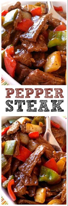 Super easy recipe with sauteed steak strips, peppers and onions. P… Pepper Steak! Super easy recipe with sauteed steak strips, peppers and onions. PERFECT over rice! Meat Recipes, Asian Recipes, Low Carb Recipes, Cooking Recipes, Healthy Recipes, Sirloin Recipes, Oven Recipes, Pepper Recipes, Beef Sirloin