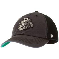 Chicago Blackhawks Grey and Black Primary Logo Franchise Fitted Hat by 47 Brand #Chicago #ChicagoBlackhawks #Blackhawks
