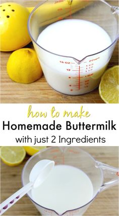 How to make Homemade Buttermilk with just 2 ingredients. This easy made from scratch buttermilk is super easy and quick to make. Buttermilk is great for baking and now you can make it at home. via mellisaswigart How To Make Buttermilk, Buttermilk Recipes, Homemade Buttermilk, Homemade Cheese, Substitute For Buttermilk, Low Cal, Baking Tips, Baked Chicken, Chicken Salad