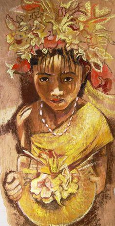 Balinese offering, Bark painting, by Sanneke Griepink