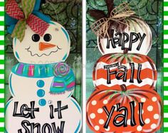 Reversible Snowman, Pumpkin Stack door hanger