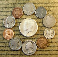 #coins Mix LOT of 11 OLD U.S. Type Coin Collection with some 90% Silver *1041 please retweet
