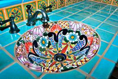 Talavera tile handbasin and vanity #2