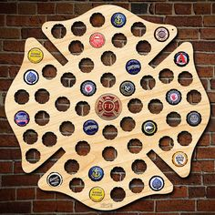 Firefighter Maltese Cross Engravable Beer Cap Map with Color Medallion - Fireman Decor, Man Cave, Home Bar, Gifts for Firefighters Christmas Firefighter Bar, Firefighter Bedroom, Firefighter Home Decor, Beer Caps, Maltese Cross, Firefighting, Fire Dept, Fire Department, Gifts