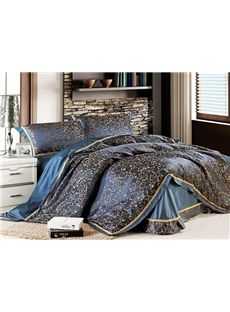 Luxurious Classic Striped Dark Blue Drill Jacquard 4 Piece Bedding Sets