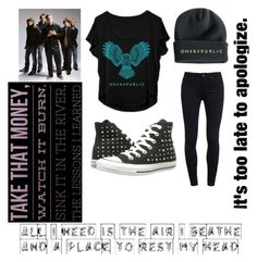 """OneRepublic"" by the-knight ❤ liked on Polyvore featuring Paige Denim and Converse"