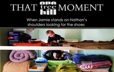 That OTH moment when Jamie stands on Nathan's shoulders looking for the shoes