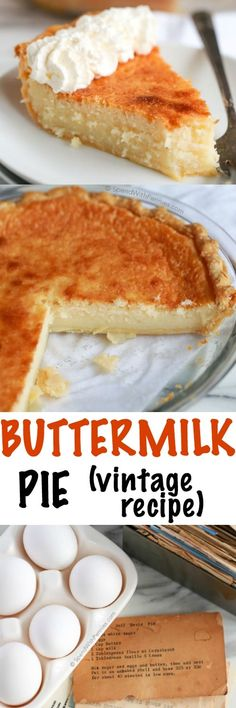 Buttermilk pie is an easy classic dessert made with simple pantry ingredients! The result is a deliciously comforting custard pie with a slightly caramelized topping. This pie will be one your family (Pantry Ingredients Recipes) Pie Recipes, Sweet Recipes, Baking Recipes, Dessert Recipes, Pie Dessert, Family Recipes, Weight Watcher Desserts, Buttermilk Pie, Portuguese Recipes