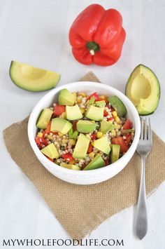 Buckwheat Avocado Summer Salad.  A healthy, colorful salad that is sure to be a hit at parties.