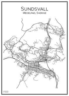 Handritad stadskarta över staden Sundsvall i Västernorrland. Här kan du beställa stadskarta över din stad och andra svenska samt utländska städer.