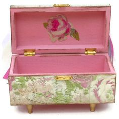 Shabby Chic Jewelry Chest Box by BlissfulBoxes on Etsy, $35.00