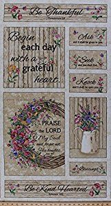 """Panel Grateful Heart Bible Scripture Verses, Flowers, Floral Gardening, Country Charm Spring Summer Cotton Fabric Panel 23.5""""x44"""" by Field's Fabrics. https://www.amazon.com/Grateful-Scripture-Flowers-Gardening-JT-C4669/dp/B01HQPXP5S/ref=as_sl_pc_as_ss_li_til?tag=serendripple_christmas2016-20&linkCode=w00&linkId=6898aac00adfa028ac76824407bc8efd&creativeASIN=B01HQPXP5S"""