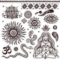 Illustration of Set of ornamental Indian symbols vector art, clipart and stock vectors. Yoga Symbols, Buddhist Symbols, Spiritual Symbols, Tattoo Symbols, Hawaiianisches Tattoo, Hand Tattoo, Mandala Tattoo, Lotus Tattoo, Ganesha Tattoo
