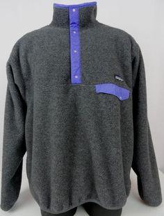 Vtg Patagonia Synchilla Mens XL Gray Fleece Pullover Jacket Snap LS USA 80s-90's #Patagonia #PulloverPopover