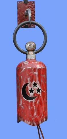 Bell, Wind chime, gong, plasma cut, doorbell, recycled tanks, fire extinguishers, found objects, welded, garden bells, upcycled, discarded tanks, oxygen cylinders, vibrations, Made by Tom Williams Twistedhornforge.com twistedhornforge@gmail.com