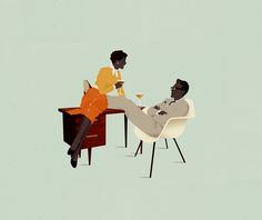 Having a drink with a colleagues after work | Royalty-free licensable illustration by Jack Hughes