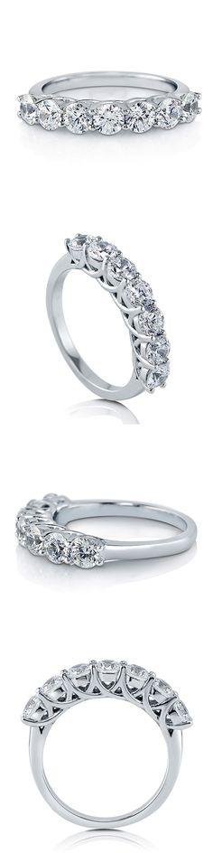 925 Silver with Swarovski Zirconia 7 Stone Wedding Ring