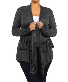 Another great find on #zulily! J-Mode USA Los Angeles Charcoal Ruffle Open Cardigan - Plus by J-Mode USA Los Angeles #zulilyfinds