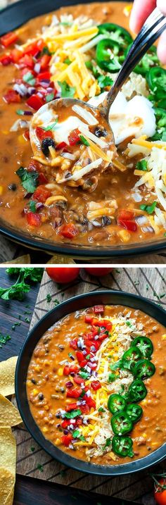 This uber easy and crazy flavorful Vegetarian Lentil Tortilla Soup can be made in a pressure cooker, slow cooker, or on the stove - game on!