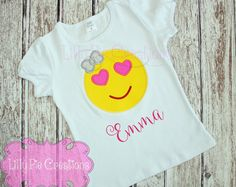 Chicas camisa Emoji, Emoji Applique camisa, Emoji, camisa de cumpleaños Emoji, Emoji partido, camiseta de chica Emoji, amor camiseta Emoji