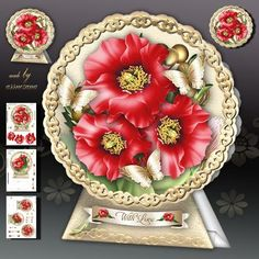 Red Poppies Card Kit by Atlic Snezana Red Poppies Card Kit: 4 sheets for print with decoupage for 3D effect plus few sentiment tags (for your own personal text).
