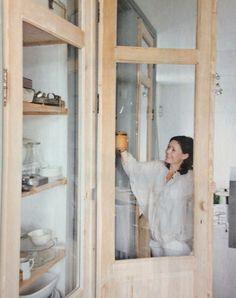 LOVEEEEEE Dining Room Storage, Kitchen Storage, Glass Panel Wall, Armoire, Antique Cabinets, Beach House Decor, Home Decor, Kitchen Cupboards, Beautiful Kitchens