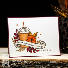 Spice of Life pumpkin spice frappuccino card made with Lil' Inker Designs Coffee Talk and Vintage Ink stamps