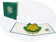 Aufklappbare POP UP Geburtstagskarte mit einer Chrysantheme. Mehr entdecken auf: www.lin-popupkarten.de Pop Up Karten, Holiday, Birth