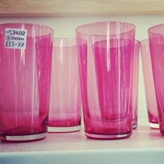 Pink glass beakers from the #Oxfam shop in #Bedford.  > Thanks for the picture Antique Owl: http://antiqueowl.wordpress.com/2012/03/10/vintage-and-charity-shop-owling-bedford-town-centre/
