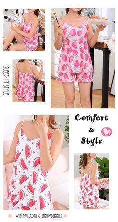 6a8c4a18d5 Women s Pink Strawberry Print Summer Pajamas