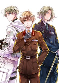 """""""Mahou Shoujo Mokushiroku"""" yaoi doujinshi by Omega 2-D (Hibino Tomoki & Shima Seiryuu), America x England + France, Axis Powers Hetalia"""