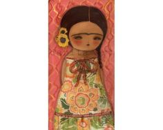 Frida Kahlo Print Reproduction Mixed Media Art Painting By Danita - (FRIDA WITH SUNFLOWERS 5x10 INCHES) $15.00