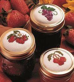 Cross Stitch Mason Jar Craft | Cross Stitch Crafts | Handmade Gifts — Country Woman Magazine. 3 fruit pattern's.
