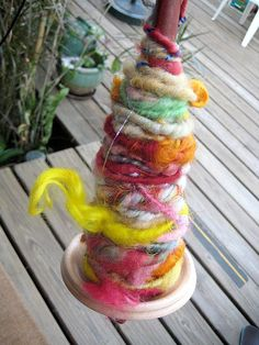 Totally unique fantastic drop spindle art yarn