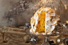 The ultimate sweet treat combination of ice cream, meringue and pudding, this bombe Alaska is the dessert goods.