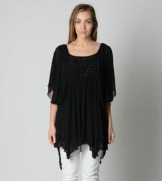 Autograph Ladies After 5 1/2 Sleeve Beaded Top sizes 14 18 20 22 Colour Black
