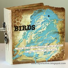 Mixed Media Mini album tutorial by Anna-Karin using products from StencilGirl and Eileen Hull.
