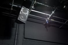 Susan Philipsz I See a Darkness (speaker rig detail), Four channel sound installation. Part of Conjuring for Beginners at Project Arts Centre, Dublin. Photo by Denis Mortell Sound Installation, The Conjuring, Rigs, Dublin, Track Lighting, Darkness, Centre, Channel, Ceiling Lights