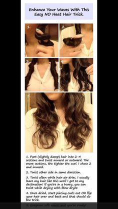 No heat curls. I tried this and it worked really well for me. It wasn't as curly as the girl's hair in the picture, but I got big soft waves for basically no effort.