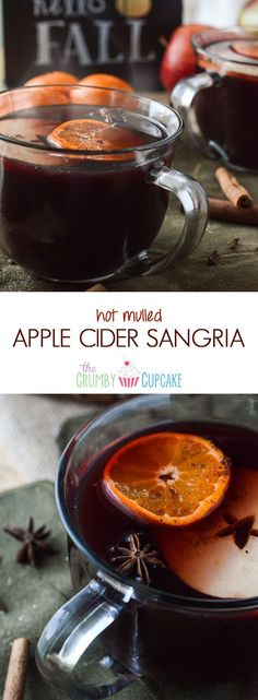 Hot Mulled Apple Cider Sangria | It's the perfect time of year for drinks like this! Hot apple cider and red wine, blended and mulled with honey, apples, clementines, and seasonal spices, then spiked with spiced rum.