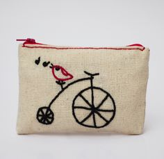 bird coin purse -bicycle and bird  -  hand embroidery on linen - coin pouch - zipper pouch by NIARMENA on Etsy https://www.etsy.com/listing/181046084/bird-coin-purse-bicycle-and-bird-hand