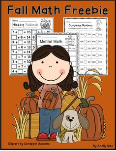 Fall Math Freebie for 2nd grade--missing addends, mental math, and comparing numbers