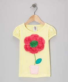Take a look at this Yellow Rosette Bloom Tee - Toddler & Girls by Just Couture on #zulily today!