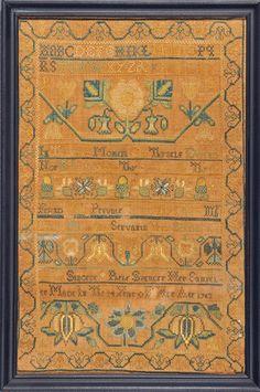 PHEBE SPENCER sampler Newport, RI 1763 from Huber