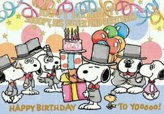 Happy Birthday to Snoopy Happy Birthday Charlie Brown, Snoopy Birthday, Birthday Greetings, Birthday Wishes, Birthday Cards, Snoopy Love, Snoopy E Woodstock, Charlie Brown Und Snoopy, Peanuts Cartoon