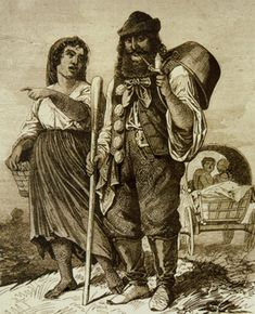 Kelderars (Kotlyars) are Romanian Gypsies. They made caldrons and baking trays on mobile anvils or mended leaking dishes. Initially they traveled through Danube principalities, but after 1856 headed to neighbor countries. Soon Kotlyar tabors arrived in Poland, Russia, France, Spain and England.