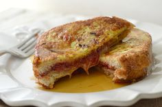 """Peanut butter and jelly french toast. This looks amazing to me. And I see a """"lighter"""" version in my future: PB2, whole wheat bread, reduced sugar jelly, and sugar free syrup."""