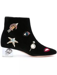 98.28$  Buy now - http://aliymb.shopchina.info/1/go.php?t=32819963570 - 2017 New Spring Autumn Shoes Woman Ankle Boots Chic Embroider Round Toe Side Zip Med Heels Woman Boots Designer Tide Booties 98.28$ #aliexpress