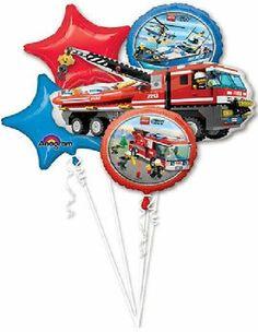 LEGO City Firetruck Fire Truck Engine Birthday Party (5) Mylar Balloons Kit SET
