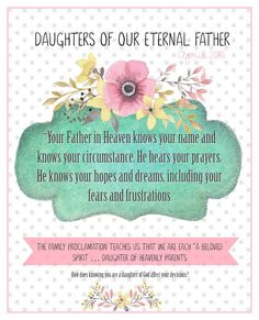 April 2016 Visiting Teaching Message-Daughters of our Eternal Father- FREEBIE